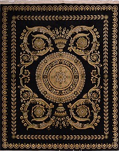 Indo Tibetan Black Hand Knotted 8 0 X 10 Area