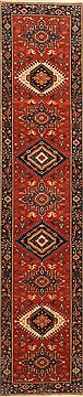 "Karajeh Red Runner Hand Knotted 2'1"" X 9'9""  Area Rug 250-22651"