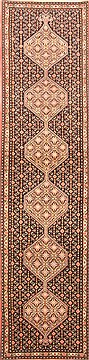 "Sanandaj Black Runner Hand Knotted 2'4"" X 9'11""  Area Rug 250-22677"