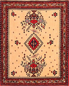 Persian Afshar Beige Rectangle 5x7 ft Wool Carpet 22714