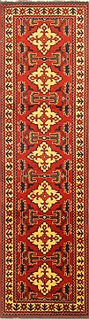 "Turkman Brown Runner Hand Knotted 2'9"" X 9'8""  Area Rug 250-22715"