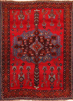 Persian Afshar Red Rectangle 5x7 ft Wool Carpet 22716