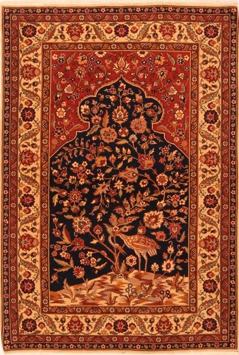 Romania Tabriz Beige Rectangle 4x6 Ft Wool Carpet 22724