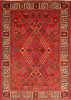 Persian Maymeh Red Rectangle 5x7 ft Wool Carpet 22745