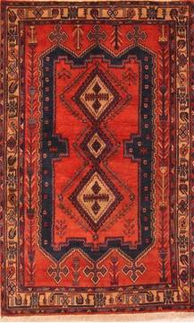 Persian Sirjan Red Rectangle 5x7 ft Wool Carpet 22750