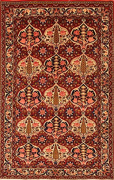 "Bakhtiar Red Hand Knotted 5'0"" X 7'8""  Area Rug 100-22759"