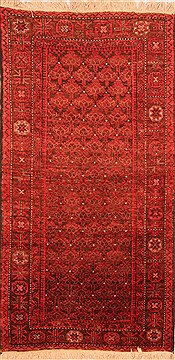 "Baluch Red Runner Hand Knotted 3'3"" X 6'5""  Area Rug 100-22782"