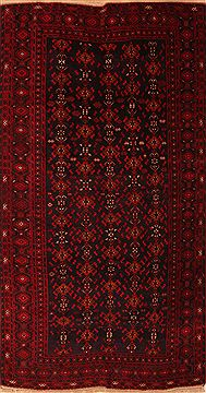 "Baluch Black Runner Hand Knotted 5'4"" X 9'9""  Area Rug 100-22801"