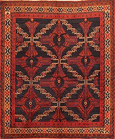 Persian Afshar Red Rectangle 5x7 ft Wool Carpet 22812