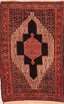 Persian Sanandaj Red Rectangle 5x7 ft Wool Carpet 22813