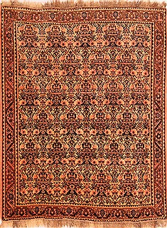 "Qashqai Orange Hand Knotted 5'1"" X 6'6""  Area Rug 100-22816"