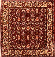 "Sarouk Red Square Hand Knotted 4'11"" X 5'3""  Area Rug 100-22839"