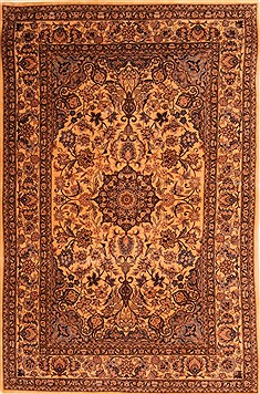"Kerman Yellow Hand Knotted 4'0"" X 6'0""  Area Rug 100-22842"