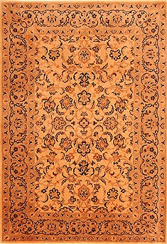 Romania Tabriz Beige Rectangle 4x6 ft Wool Carpet 22851