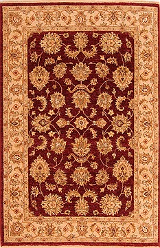 Indian Chobi Red Rectangle 4x6 ft Wool Carpet 22853