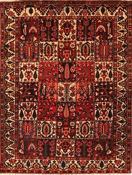 Persian Bakhtiar Red Rectangle 5x7 ft Wool Carpet 22862