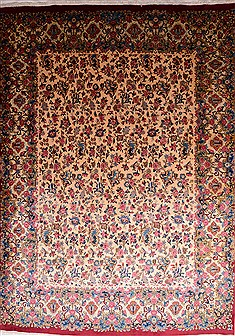 Persian Kerman Beige Rectangle 10x13 ft Wool Carpet 22947