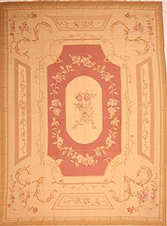 Romania Aubusson Brown Rectangle 10x13 ft Wool Carpet 22962