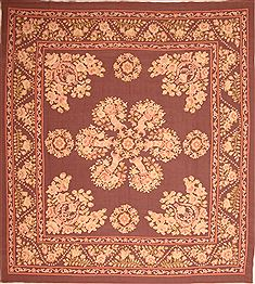 Romania Aubusson Purple Square 9 ft and Larger Wool Carpet 22969