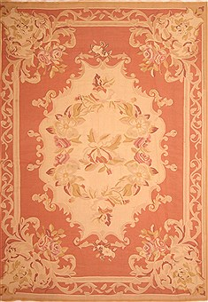 Romania Aubusson Red Rectangle 10x13 ft Wool Carpet 23037