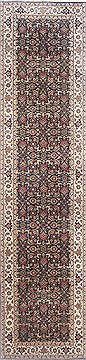 "Indian Herati  Wool Black Runner Area Rug  (2'5"" x 10'1"") - 250 - 23062"