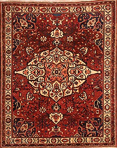"Bakhtiar Red Hand Knotted 7'1"" X 8'9""  Area Rug 100-23079"