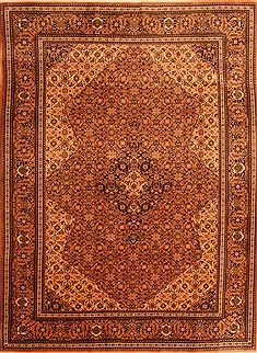 Romania Tabriz Brown Rectangle 7x9 ft Wool Carpet 23094