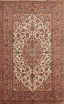 "Kashan Beige Hand Knotted 6'3"" X 10'1""  Area Rug 100-23112"