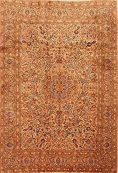 "Kashan Yellow Hand Knotted 6'9"" X 9'9""  Area Rug 100-23137"