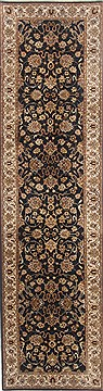 Indian Kashmir Black Runner 10 to 12 ft Wool Carpet 23138