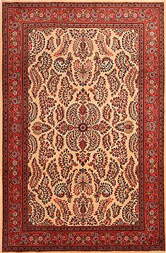 "Sarouk Red Hand Knotted 6'7"" X 10'1""  Area Rug 100-23177"