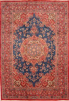 Persian Kashan Blue Rectangle 6x9 ft Wool Carpet 23180