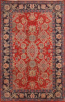 "Yazd Red Hand Knotted 6'4"" X 9'11""  Area Rug 100-23184"