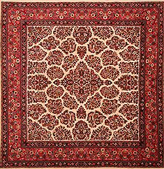 "Sarouk Red Square Hand Knotted 8'7"" X 8'9""  Area Rug 100-23255"