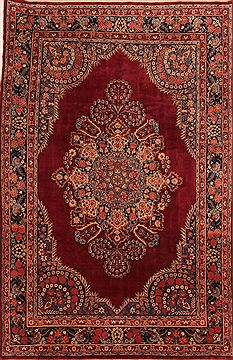 Persian Yazd Red Rectangle 7x10 ft Wool Carpet 23257