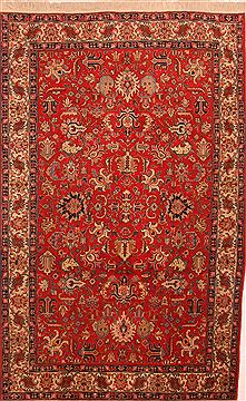 "Tabriz Red Hand Knotted 6'6"" X 10'5""  Area Rug 100-23260"