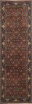 "Indian Herati  Wool Brown Runner Area Rug  (2'7"" x 8'2"") - 250 - 23293"
