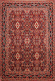 "Yazd Red Hand Knotted 6'10"" X 10'0""  Area Rug 100-23313"