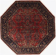 "Sarouk Red Octagon Hand Knotted 5'0"" X 5'0""  Area Rug 250-23412"
