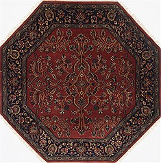 "Sarouk Red Octagon Hand Knotted 5'0"" X 5'0""  Area Rug 250-23413"