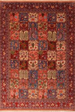 "Varamin Red Hand Knotted 6'9"" X 9'7""  Area Rug 100-23427"