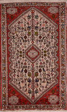 Persian Abadeh Beige Rectangle 2x4 ft Wool Carpet 23446