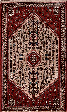 Persian Abadeh Beige Square 4 ft and Smaller Wool Carpet 23458