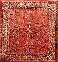 "Sarouk Red Square Hand Knotted 7'0"" X 7'2""  Area Rug 100-23481"