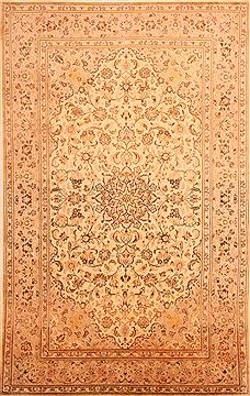 "Kashan Beige Hand Knotted 6'5"" X 10'0""  Area Rug 100-23484"