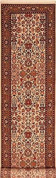 "Sarouk Beige Runner Hand Knotted 2'8"" X 10'8""  Area Rug 100-23492"