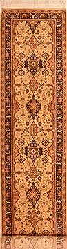 "Sarouk Beige Runner Hand Knotted 2'4"" X 10'5""  Area Rug 100-23493"