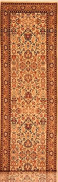 "Sarouk Beige Runner Hand Knotted 2'7"" X 10'2""  Area Rug 100-23494"