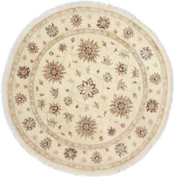 Pakistani Chobi Beige Round 5 to 6 ft Wool Carpet 23503