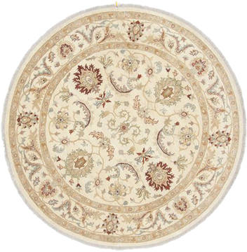 Pakistani Chobi Beige Round 5 to 6 ft Wool Carpet 23504